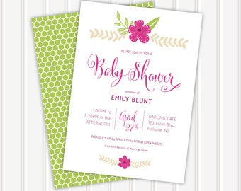 The Emily • Baby Shower Invitation   5x7   Double Sided