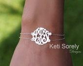 14K White Gold - Designer Personalized Initial Bracelet, Monogram Bracelet or  Monogram Anklet (Order Any Initials) - Double chain