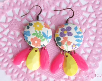 Multicolored flowers earrings vintage fabric earring dangle yellow pink beads summer jewelry