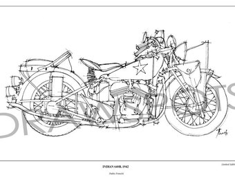 Motorcycle Art print, Vintage Original Handmade drawing, INDIAN 640B, 1942,This motorbike was used in the war,husband's birthday, dad gift