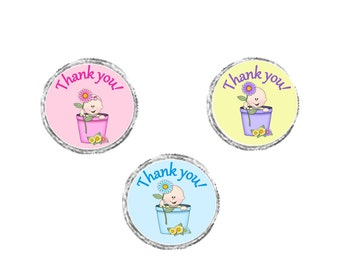 """Personalized """"Baby is Blooming"""" Baby Shower Labels - Baby Shower Favor - sheet of 105 - great for chocolate favors!~"""