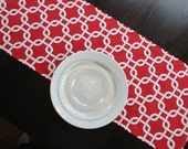 Gotcha Table Runner in Red & White / Ready to Ship!