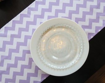 Lavender and White Chevron Table Runner / Ready to Ship