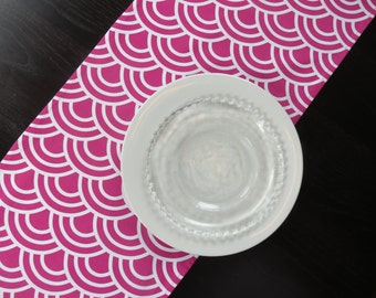 Clouds Table Runner in Fuschia Pink and White