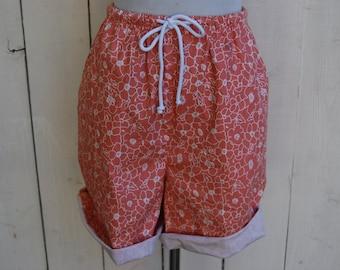 CORAL FLORAL Drawstring Shorts