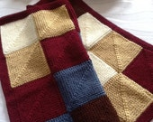 READY TO SHIP. Sale 20% off. Beautiful Mitred Squares Baby Blanket// Hand knitted blanket// fall colours baby blanket .