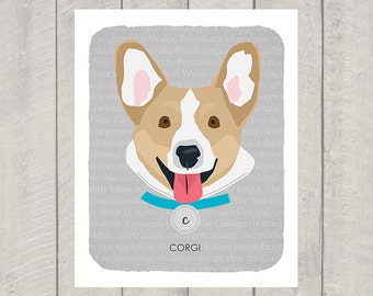 Corgi - Dog Nursery Art Print - Custom