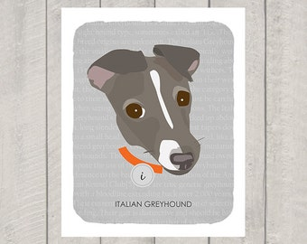 Italian Greyhound - Dog Nursery Art Print - Custom