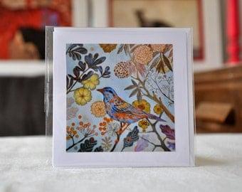 "AUTUMN BIRD / Greeting Card with envelope (5x5"")"