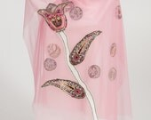 Elibelineart-Tulle and pure silk shawl.Silk tulip on shawl.Chic design,unique,Shawl store