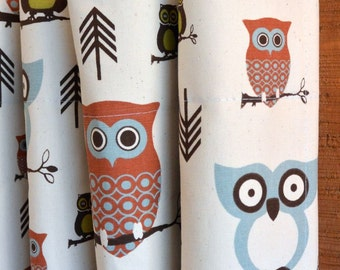 SUMMER SALE! Curtains, Designer Curtain Panels 24W or 50W x 63, 84, 90, 96 or 108L Hooty Owl Village Blue Natural shown, MORE Colors