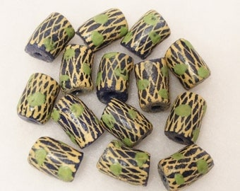 Large Blue African Beads (9),African Glass Beads, Ethnic Beads (B38)