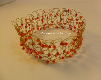 Wire crochet bracelet. Crocheted with brass wire and beads. On request also available with copper wire or bleached brass wire.