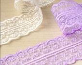 Vintage Lace ribbon egg shell white lace / lavender lace 10 yards / wedding / bride
