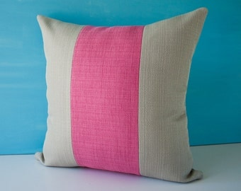 Grey and pink fuchsia stripes decorative throw pillow cover / grey modern pillowcase / pink accent pillow / cushion cover - 18 x 18 inches