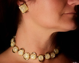 Vintage Coro Yellow Confetti Necklace and Earrings
