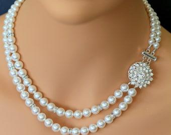 Two Strands Pearl Rhinestone Necklace, Wedding Bridal Necklace, Swarovski Crystal Pearl Necklace, Wedding Jewellery, Vintage Bridal DIAMANTE