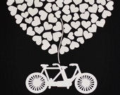 Custom wedding guest book alternative - 3D Tandem Bike Wedding Guest Book - Custom Wedding Art - Bike Guest Book