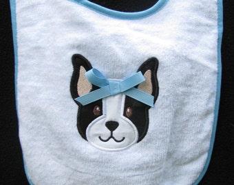 "Applique Embroidery ""Boston Terrier"" Baby Bib"