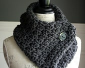 CHARCOAL GREY Cowl Neck Scarf with black button, crocheted