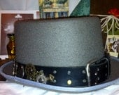 Steampunk Top Hat with Leather Hat Band, Charms and Gears.