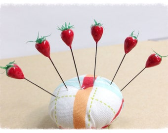 Strawberry Pin Toppers Decorative Sewing Pins or Scrapbooking Pins Set of 6 - PT41