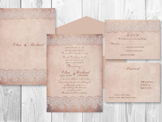 Printable Wedding Invitation Sets: PRINTABLE WEDDING INVITATION Sets Rustic By DesignedWithAmore