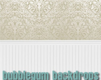 Elegant Wallpaper and Wainscot - Vinyl Photography  Backdrop Photo Prop