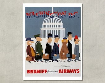 Washington DC Braniff Airways - 8.5x11 Poster Print - also available in 11x14 and 13x19 - see listing details