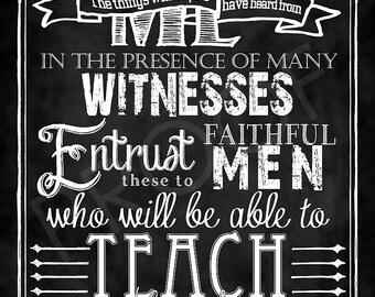 Scripture - 2 Timothy 2:2 Chalkboard Art