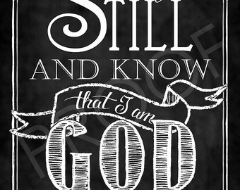 Scripture Art - Psalm 46:10 Chalkboard Style