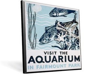 "WPA Reprint ""Visit the Aquarium"" on 9x11 PopMount Ready to hang FREE Shipping (Contl US)"
