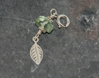 Green amethyst nugget with sterling silver leaf on sterling spring ring - Add a Charm