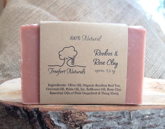 SALE - Rooibos + Rose Clay Soap with Ylang Ylang & Pink Grapefruit - Handmade Cold Process, All Natural, vegan, essential oils