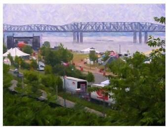 Mississippi River Bridge, Memphis TN Art, Memphis Bridge Print, Sunset Art, Memphis May Art, Memphis Landmarks, KORPITA
