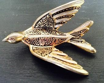 1960s 70s Vintage Bird Damascene Pin Brooch