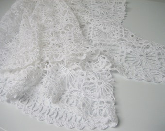Crochet weddings scarf. Bridal Shawl Capelet Gown Wrap Stole. White crochet lace shawl. Unique Wedding gown. Bridal shrug. Bridal bolero