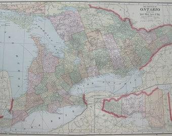 Antique ONTARIO Map Ontario CANADA 1900 Vintage Collectible Map Plaindealing 4966