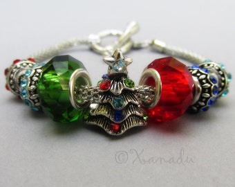 Christmas Tree European Charm Starter Bracelet - Red, Green, Blue, Turquoise Rhinestone Charm Bracelet With Christmas Tree Charm