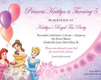 Printable Princess Tea Party Birthday Invite and Thank you