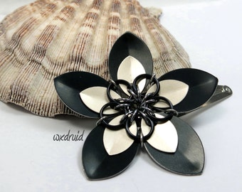 Scale Flower Hair Clip, Handmade Black and Frost Flower Hair Piece, Hair Flower Clip