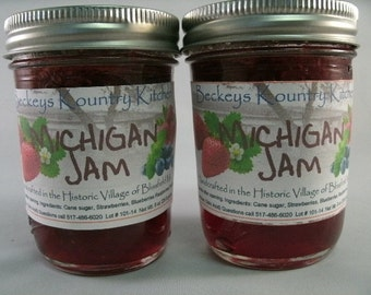 Two Jars of Michigan Jam Homemade by Beckeys Kountry Kitchen jam jelly preserves fruit spread nandcrafted artisan quality