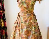 Vintage 1950s Strapless Atomic Tiki Dress Volup Plus XL 50s 60s