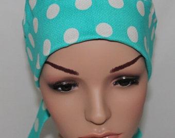 Aqua Cool Dots, Surgical Scrub Hat,  Chemo Hat,OR  Nurses Hat, Women's Surgical Scrub Hat,