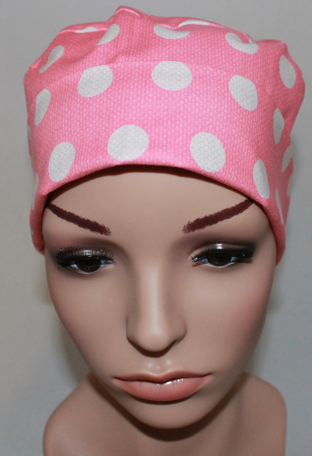 pink cool dots s tie back surgical scrub hat chemo