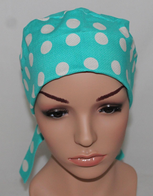 aqua cool dots surgical scrub hat chemo hator nurses hat