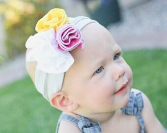 Bright Jersey Knit Flower Trio Headband - Spring and Summer Headband
