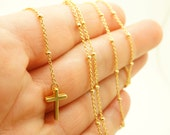Modern Gold Rosary Necklace  - Gold ball chain Long Rosary Necklace w/ Cross