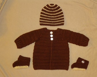 3 Month Brown Sweater, Hat and Booties Set