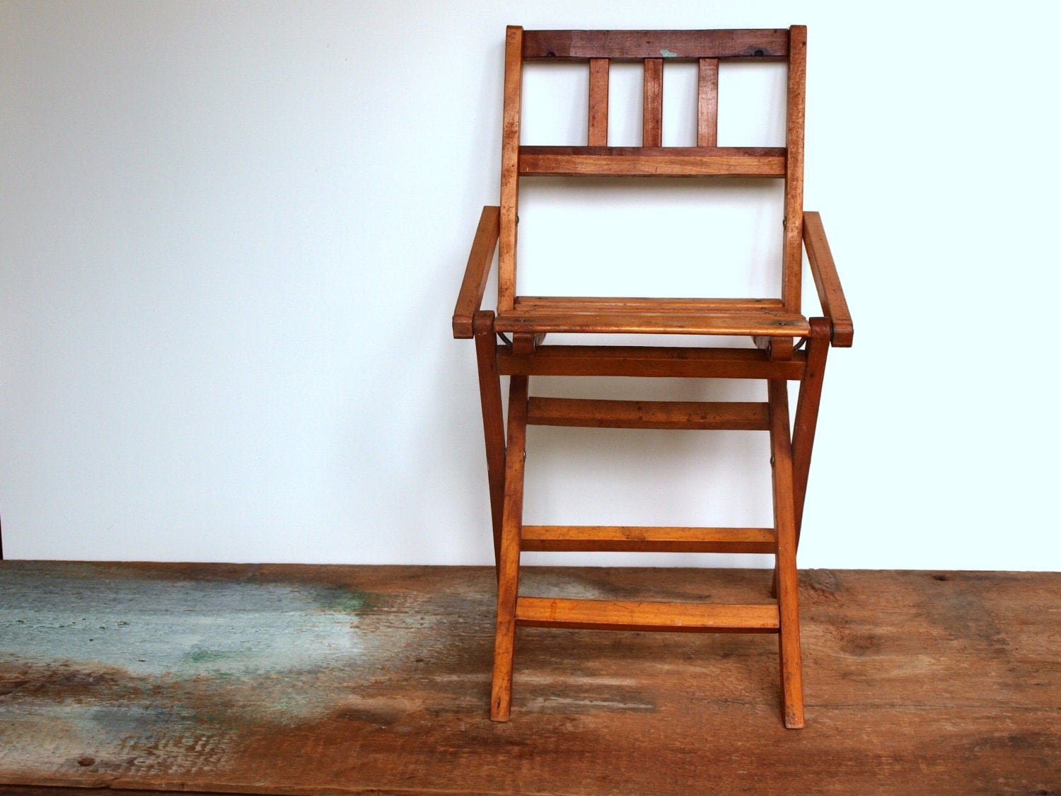 vintage folding wooden chair child sized by